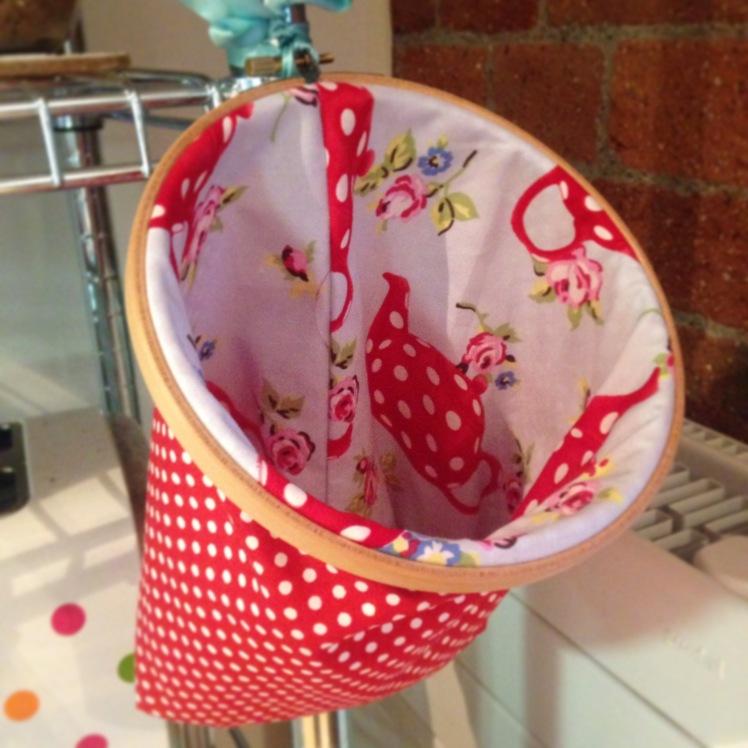 Embroidery hoop basket