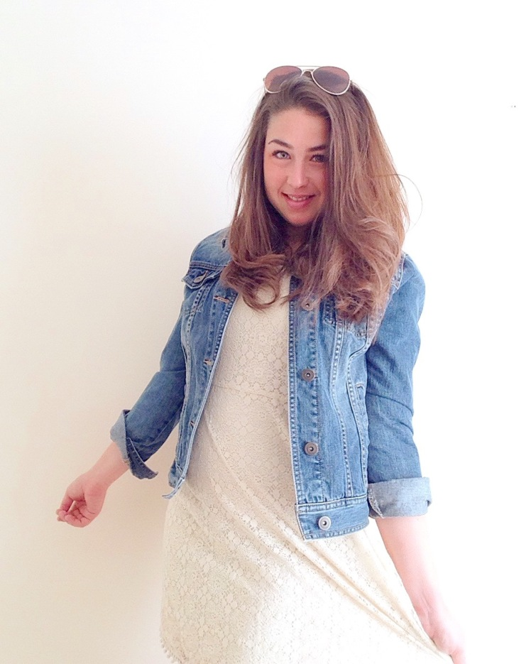 Second hand pre-loved dress cream lace tea dress vintage charity shop style inspiration how to wear #fashiontakeback denim jacket sunglasses