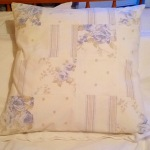 upcycled cushion cover upcycling sheets charity shop shabby chic patchwork vintage DIY sewing china blue floral stripes spots white bedding bedlinen craft